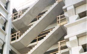 Three Sets Of Precast Concrete Stairs In Building Under Construction