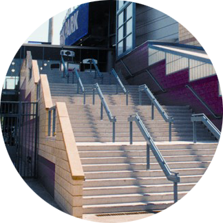 Precast Concrete Steps In Front Of Sports Stadium Entrance