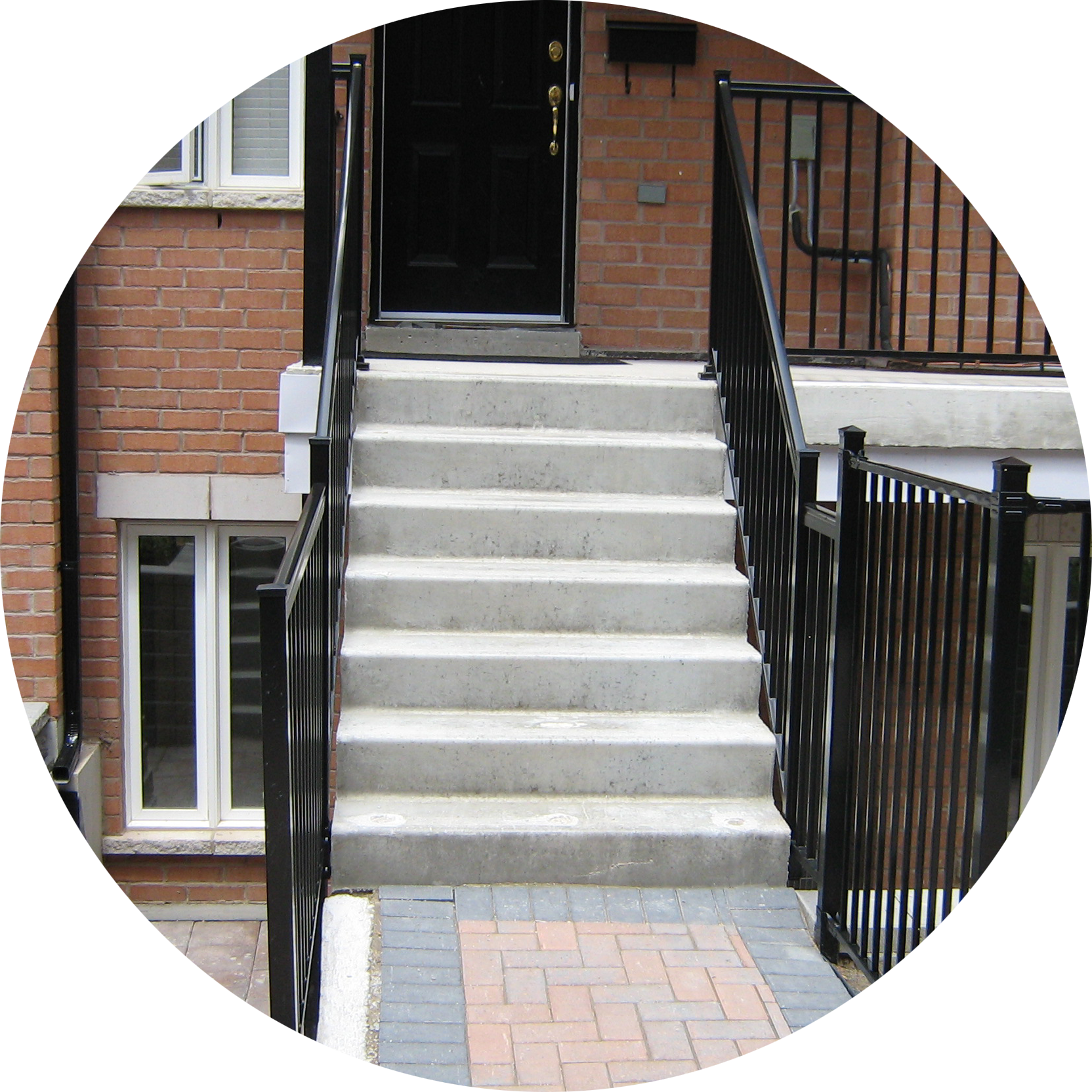 Precast Concrete Steps In Front Of Townhouse